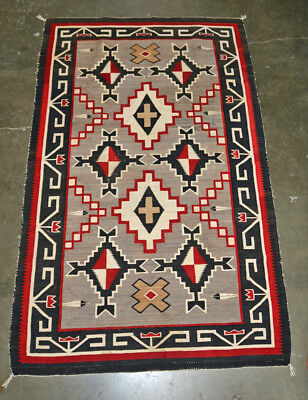 "Large Antique Navajo Rug -  Early Teec Nos Pos 95"" x 59"" c. 1920"
