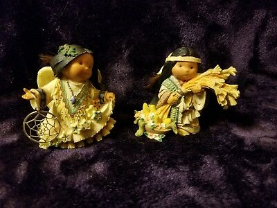 "Retired 1998 Enesco ""2 Pc Lot"" Friends Of The Feather Figurines"
