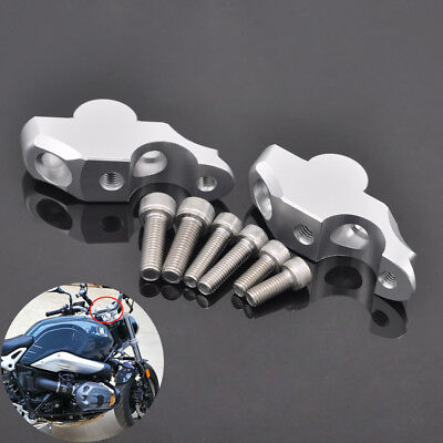Silver Riser Grip Handlebar Mount Higher Extend Adapter for BMW R NINE T 2014-up
