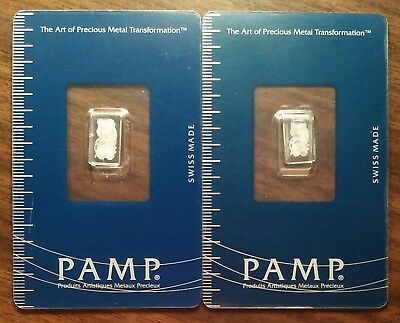 TWO PAMP SUISSE 1 gram Platinum Bars. Fortuna 999.5 assay/ingot/bullion/exonumia