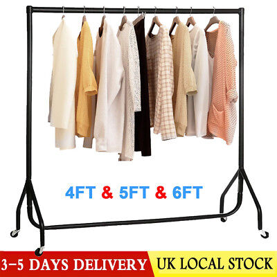 Stylish Strong 4FT 5FT 6FT Garment Clothes Rail Super Heavy Duty All Metal Black