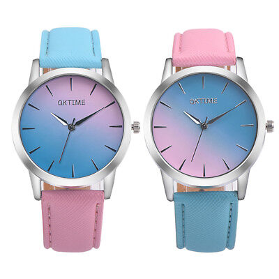 Women Watch Retro Rainbow Design Leather Band Analog Alloy Quartz Wrist Watch