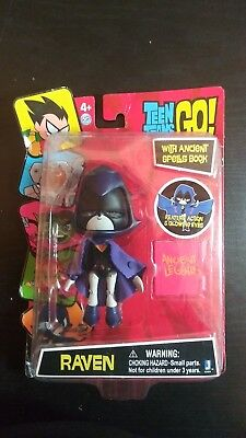 "TEEN TITANS GO RAVEN 5/"" ACTION FIGURE WITH ANCIENT SPELL BOOK JAZWARES"