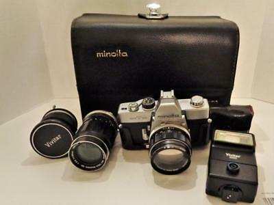Minolta SRT 101 camera lot with lenses, flash, Minolta case
