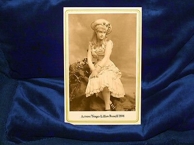 LILLIAN RUSSELL Beautiful Actress Singer Cabinet Card Photograph1894 Vintage