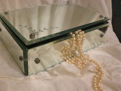 OLd GLaM~VINTAGE JEWELRY BOX~Small Shabby Chest~Etched/Beveled MIRROR~Needs TLC