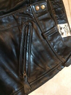 Vintage Langlitz black leather biker motorcycle pants breeches 35 Waist