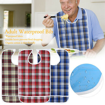 3Sizes Waterproof Adult Mealtime Bib Cloth Protector Disability For Dining GW