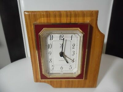 "Vintage French Jaz Quartz Desk/Mantle Wood Clock Japan movement 5"" tall"