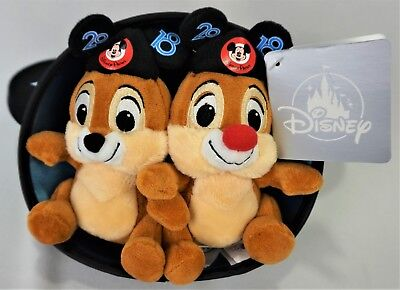 "Disney Parks 2018 Chip and Dale 6"" Plush in Mickey Mouse Ear Hat New with Tag"