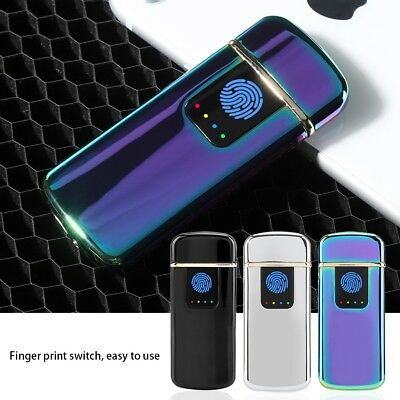 USB Rechargeable Fingerprint Touch Flameless Windproof Plasma Electric Lighter d