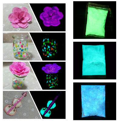 50/100g Neon Color Nail Art Acrylic Fluorescent Dust Powder Glow In Dark Decor G