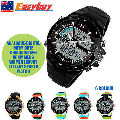 5ATM Date Chronograph Army Mens Women Luxury Analogue-Digital Sports Watch AU