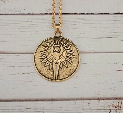 goddess necklace wiccan witch pagan alternative powerful magic gold