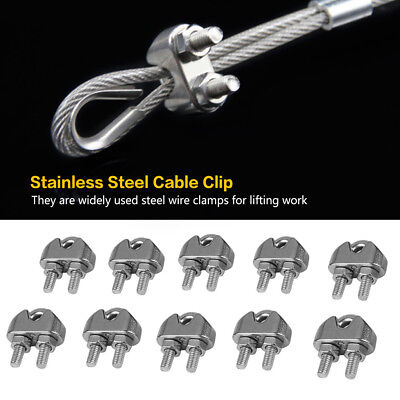 10pcs/Set M3 304 Stainless Steel U-Shaped Saddle Clamps Cable Wire Rope Clips GL