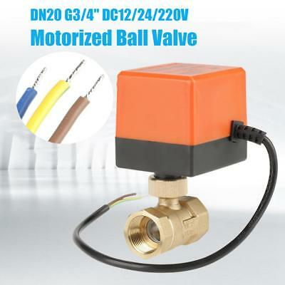 "12V /24V /220V G3/4"" DN20 2 Wires Control Brass Motorized Electrical Ball Valve"