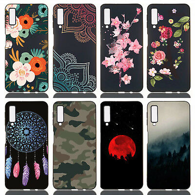 For Samsung Galaxy A7 2018/A750 Silicone Slim Painted TPU Black Matte Case Cover