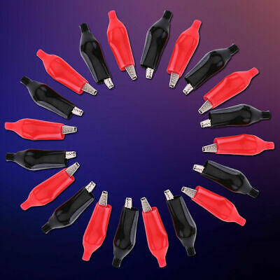 20X Insulated Alligator Clips Test Probe Lead Crocodile Clamps Red Black 28mm GW