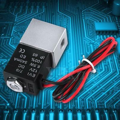 """12V DC 1/8"""" 2 Way Dual-pass Pneumatic Electric Solenoid Valve for Gas Liquid Oil"""