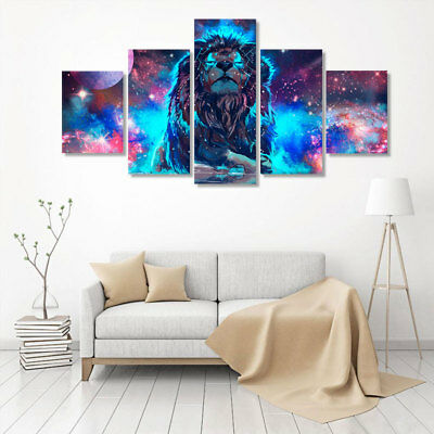 5PCS Canvas Prints Animal Lion Wall Painting Art Picture Printing Home Decor AU
