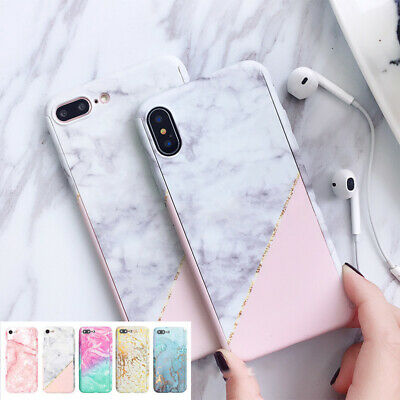 For iPhone XS Max XR X 8 7 6 6S Plus 5S 360 Marble Shockproof hybrid Case Cover
