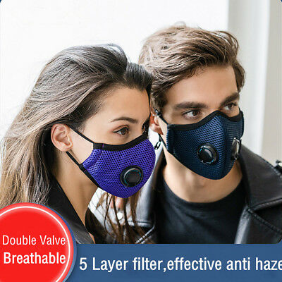 Fashion Anti dust Mouth Mask Half Face Respirator Breathable Double Valve Unisex