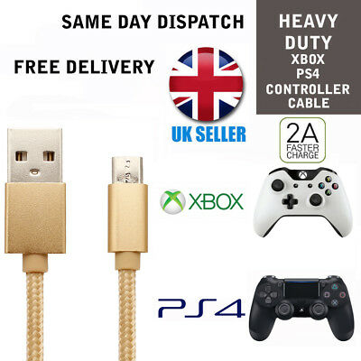 Gold Charging Cable for PS4 Dualshock 4 controllers Micro USB Charger lead