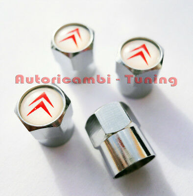 4 Caps Valve Cover Tyres Alloy Aluminum With Logo Citroën Car