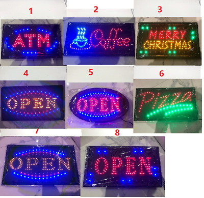 55X33cm/48x25cm Led Open Sign Flashing Window Shop Cafe Restaurant Pizza SHOP