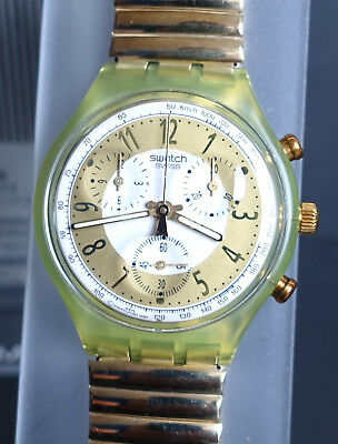 Swatch Chrono Golden Globe SCG100 1993 NEU ungetragen in OVP - Flexband large