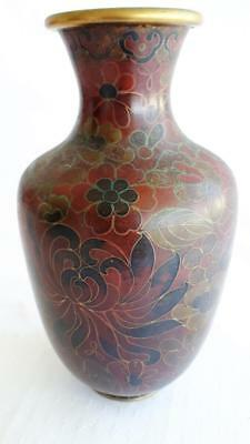 Lovely Vintage Oriental Cloisonne Enamel Floral Decorative Art VASE