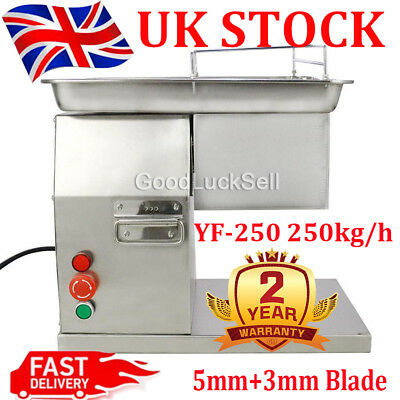 YF-250 Meat Slicer Meat Cutting Machine Stainless Steel w/ 5mm+3mm Blade 250kg/h