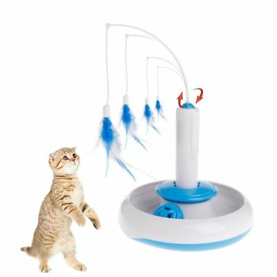 Cat Teaser 360 Rotation Electric Plate Toys Ball Bell Feather Pet Disc Non Slip