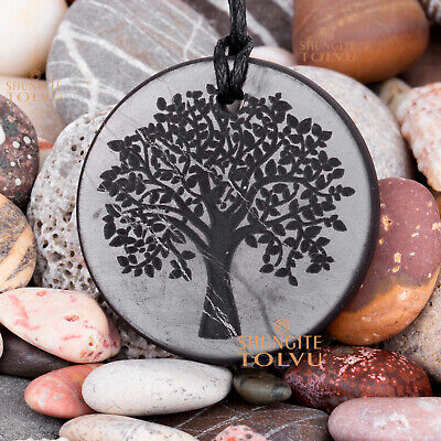 """Shungite pendant engraved amulet """"Tree of Life"""" made of real stone, Tolvu"""
