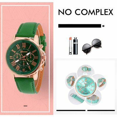 Female Watch Rome Number Quartz Watch With Scale Dial Ring Leather Strap Watch C