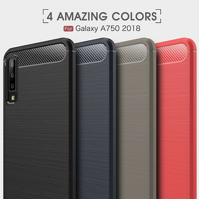 For Samsung Galaxy A7 2018 A750 Carbon Fiber Silicone Cover Shockproof TPU Case