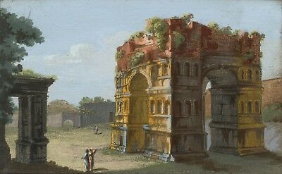 Arch of Janus, Rome Italy - Original early 19th-century engraving print