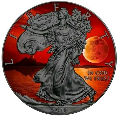 2018 USA $1 BLOOD MOON WALKING LIBERTY 1 Oz Silver Coin, 24Kt Black Ruthenium.