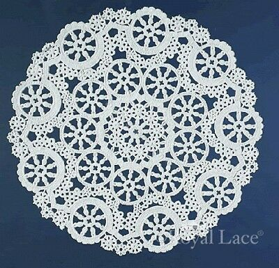 "Royal Lace Medallion 4"" White Round Lace Paper Doilies, 40 per pack (B23001)"