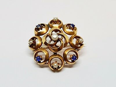 Broche ancienne Belle Epoque Or jaune 18 carats 750/1000 Perles & Saphirs 2.97 g