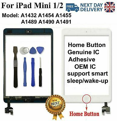 For iPad mini 1 2 White Digitizer Touch Replacement Screen Glass IC Home Button