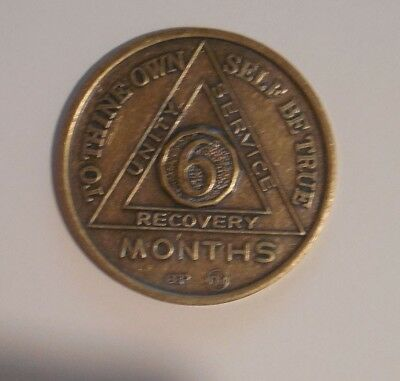 aa alcoholics anonymous 6 month bronze recovery sobriety coin token medallion