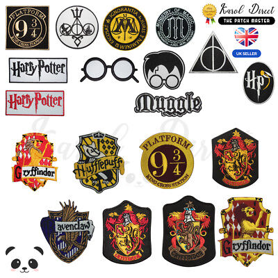 Harry Potter Gryffindor Ravenclaw Hufflepuff Embroidered Sew/Iron On Patch Badge