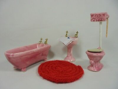 dollhouse miniature pink porcelain/ceramic bathroom set tub sink toilet rug