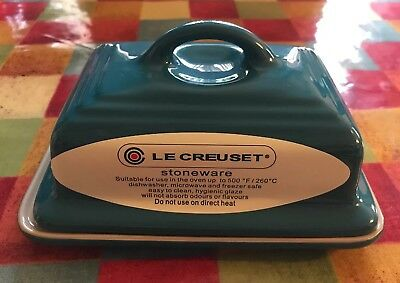 💙new Le Creuset Dark Teal Blue Heavy Stoneware Ceramic Butter Dish
