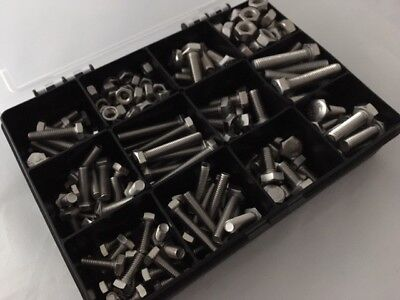 Assorted M6 M8 Metric Stainless Steel Hex Head Set Screw Bolts Full Nuts 250 pcs