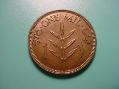 Palestine 1943 1-Mil In Nice Brown Uncirculated Condition