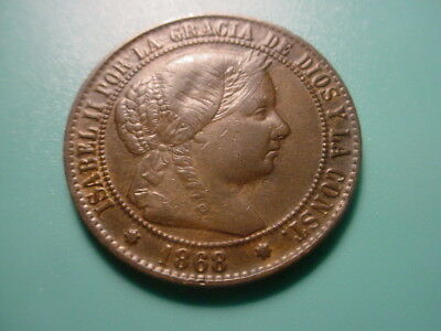 Spain 1868 2-Centimos In Excellent Condition