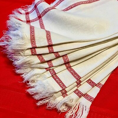 12 Antique Country French Turkey Red Linen Damask Napkins With Fringe, Farmhouse