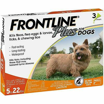FRONTLINE Plus Flea and Tick Control for 5-22lbs Dogs - 3 Doses NOBOX!!!